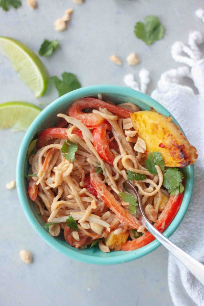 Pineapple Pad Thai with fork