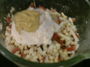 Bacon and boiled eggs with dressing ingredients
