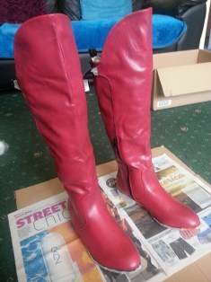Supergirl boots coat 3 - see what I mean about pink?