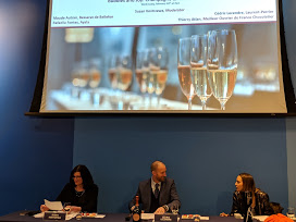 Panel of Champagne representatives tasting bubbly with macarons
