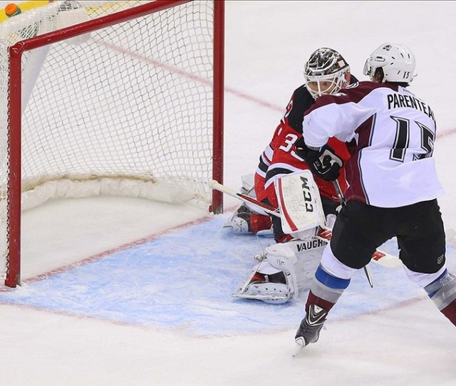 Feb 3 2014 Newark Nj Usa Colorado Avalanche Right Wing P A Parenteau 15 Scores The Game Tying Goal On New Jersey Devils Goalie Cory Schneider 35