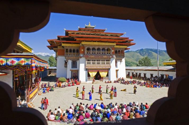 Asia, bhutan, Phobjikha valley, Tsechu festival at Gangtey Gompa Monastery