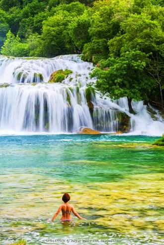Croatia, Dalmatia, Sibenik, Knin, Krka, Krka National park, Swimming in the lakes