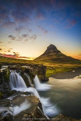 Snaefellsness peninsula, Iceland. Midnight sun at the Kirkjufell mountain.