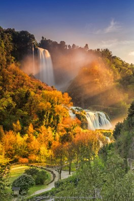 Italy, Umbria, Terni district, Terni, Marmore Falls. One of the tallest waterfalls in Europe. 165 m (541 feet)