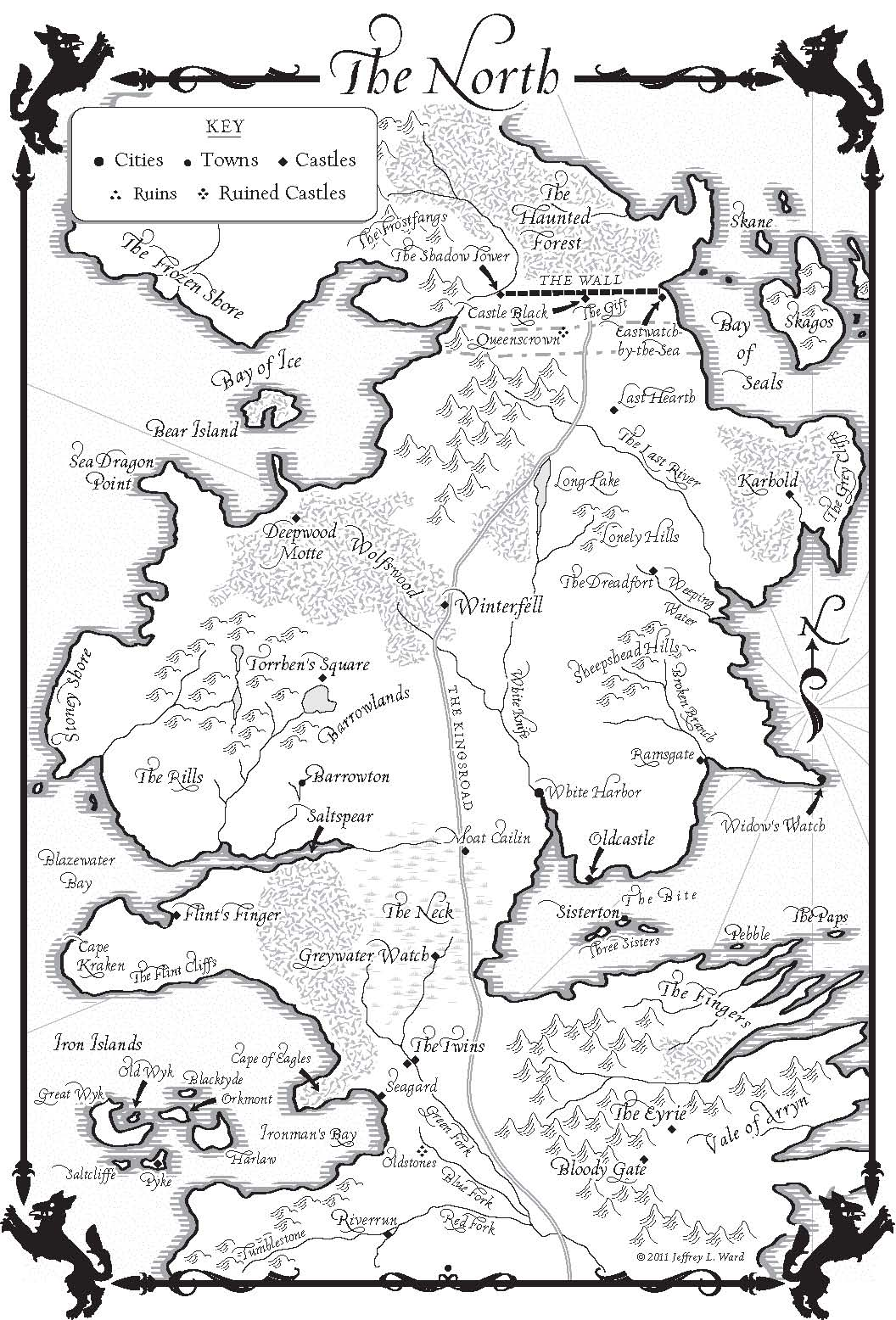A Dance With Dragons Map Of The North