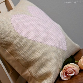 DIY Woven Heart Burlap Pillow