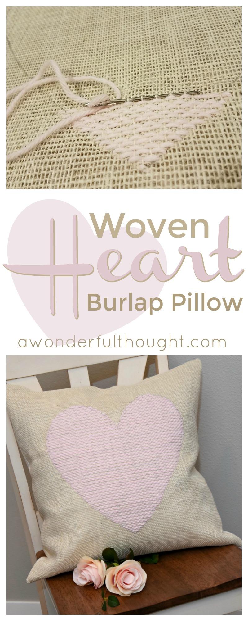 diy woven heart burlap pillow