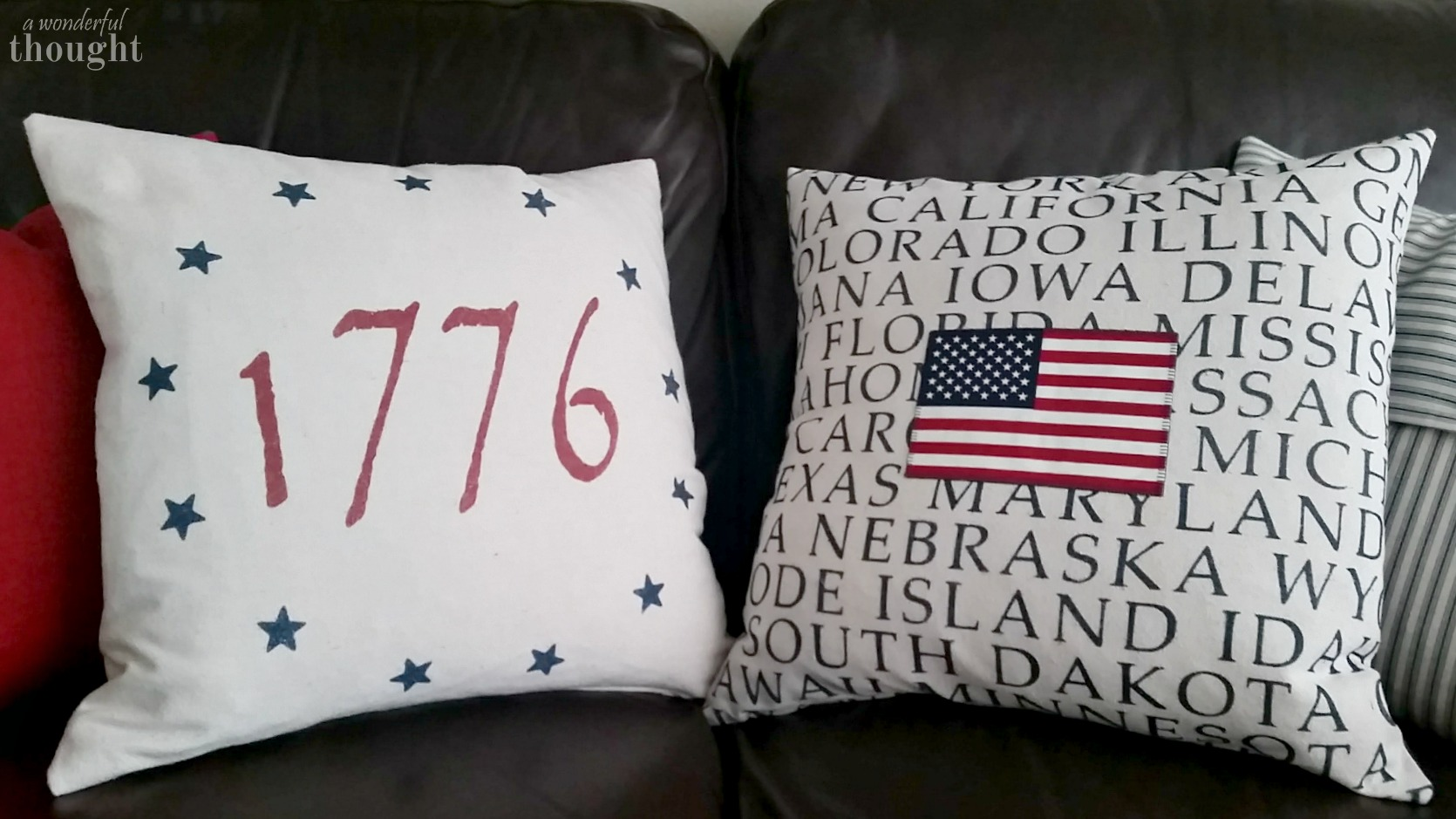 Love these DIY patriotic pillows! Tutorials for spray painted pillows, Cricut files included! | awonderfulthought.com
