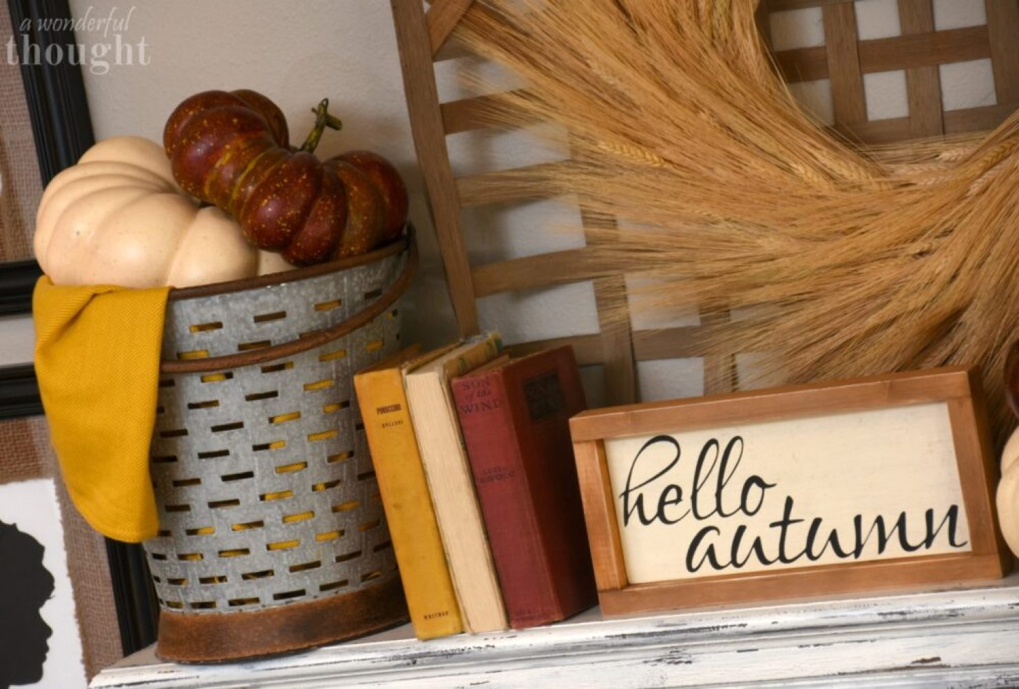 Burgundy and Mustard Fall Mantel Decor | awonderfulthought.com