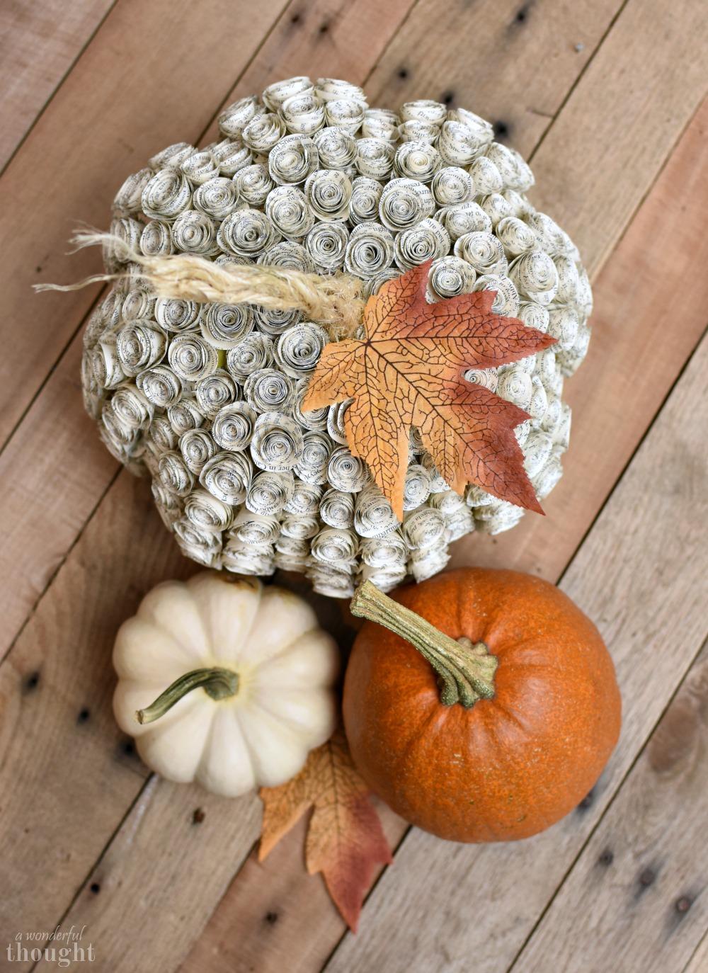 Book Page Rose Pumpkin DIY #diypumpkin #pumpkinmakeover #fallcraft #awonderfulthought.com