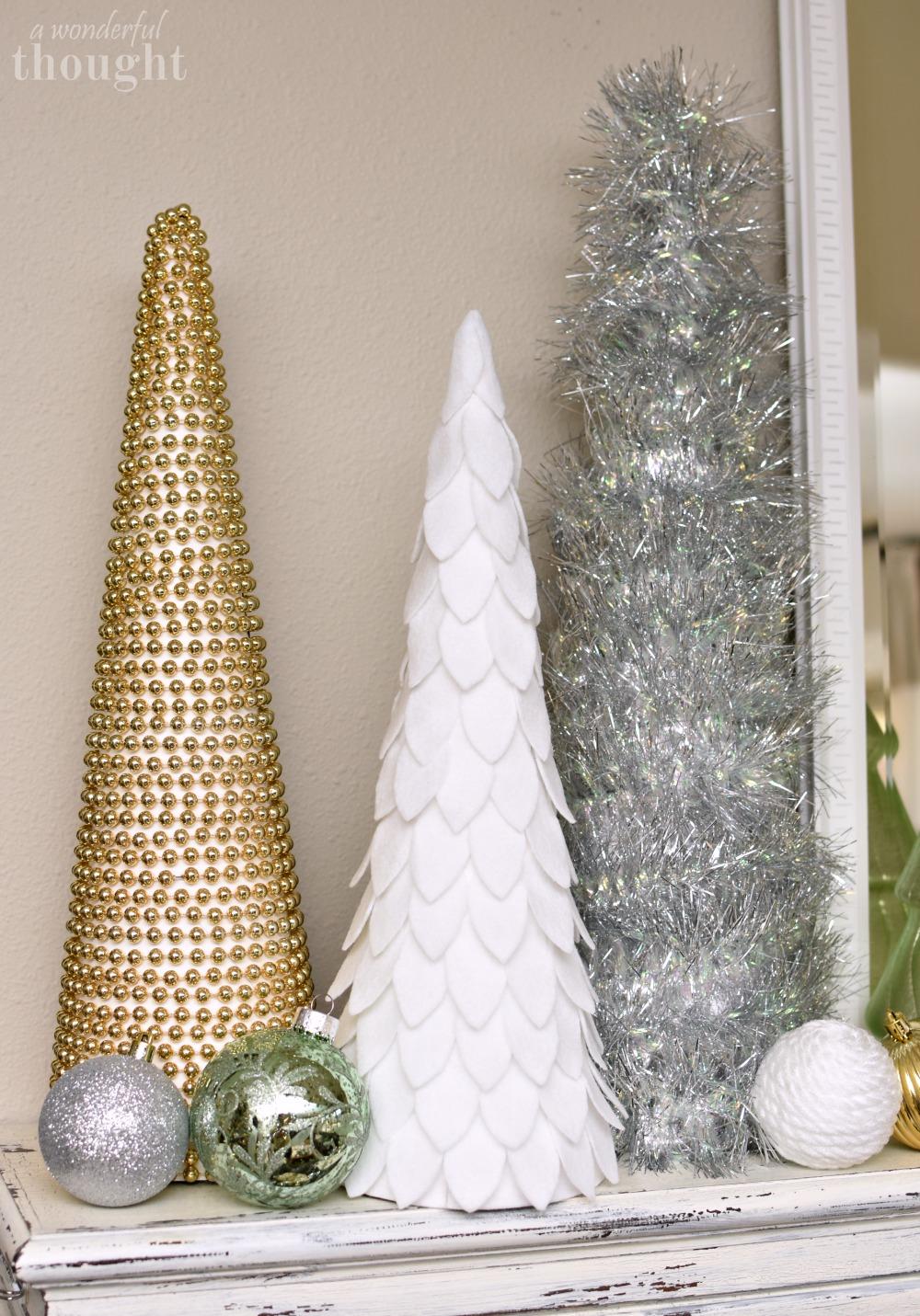 DIY Cone Christmas Trees #diychristmastree #christmasdecor #diyconetree #awonderfulthought