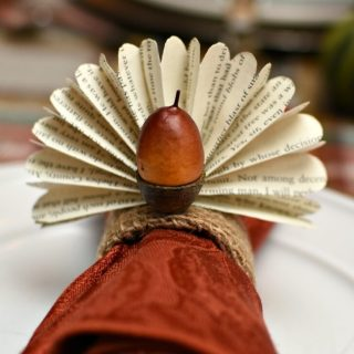 Thanksgiving Napkin Rings | Book Page Acorn Turkeys