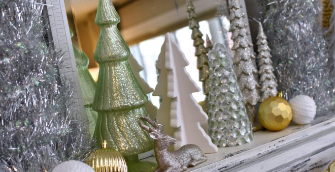 Silver, Gold and Green Christmas Mantel