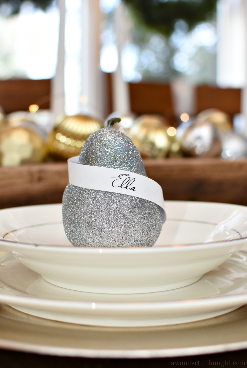 Silver and Gold Christmas Tablescape #Christmastablescape #holidaytablesetting #tabledecor #awonderfulthought
