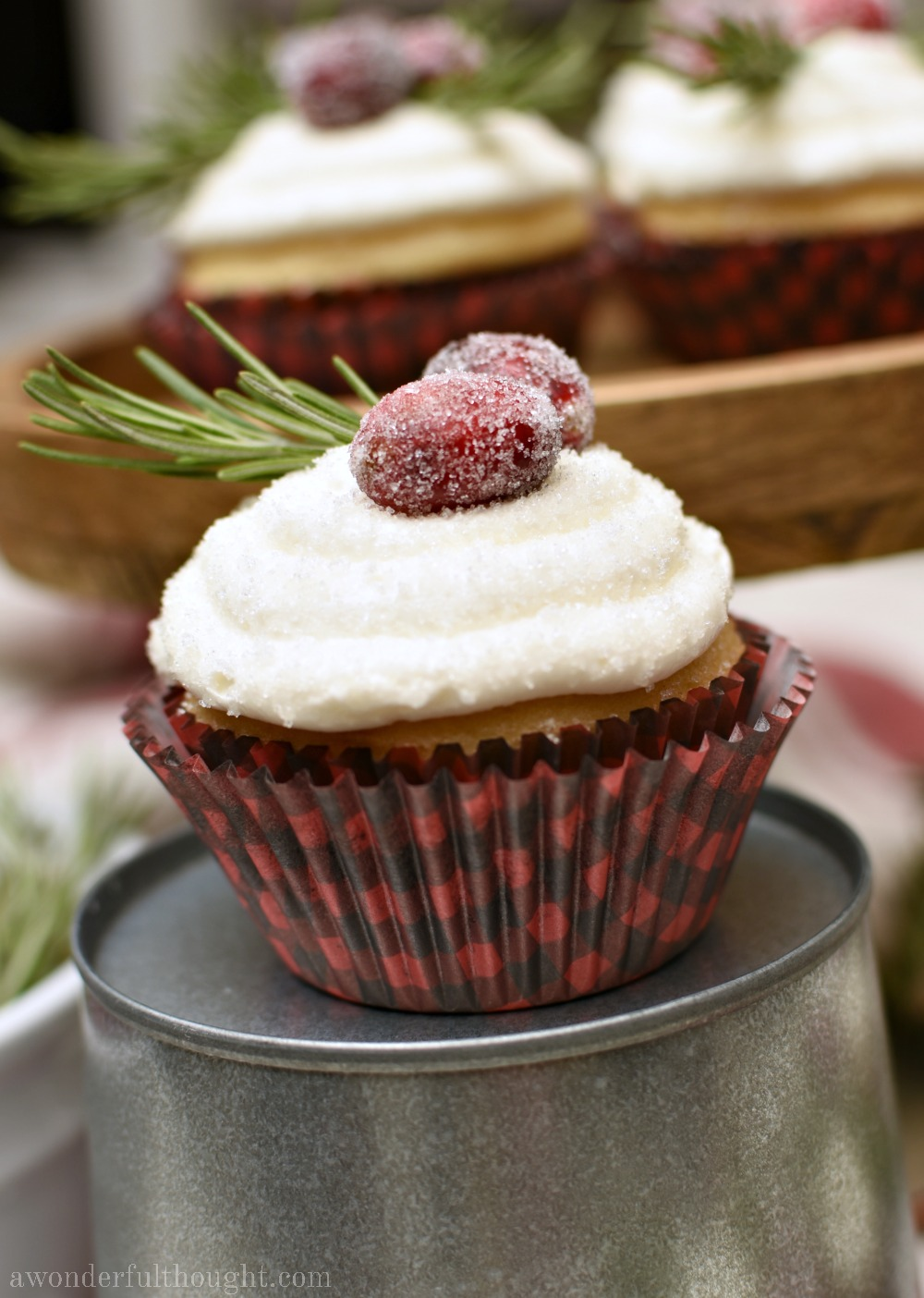Sugared Cranberries and Rosemary Holly Cupcakes #cupcakerecipe #Christmasrecipe #hollycupcakes #awonderfulthought