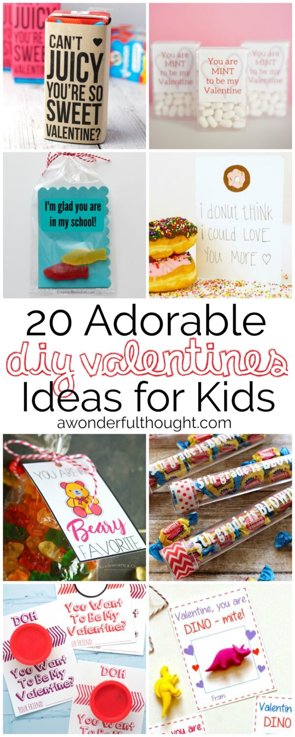 20 Adorable DIY Valentines For Kids #valentinesforschool #kidsvalentines  #diyvalentines #awonderfulthought