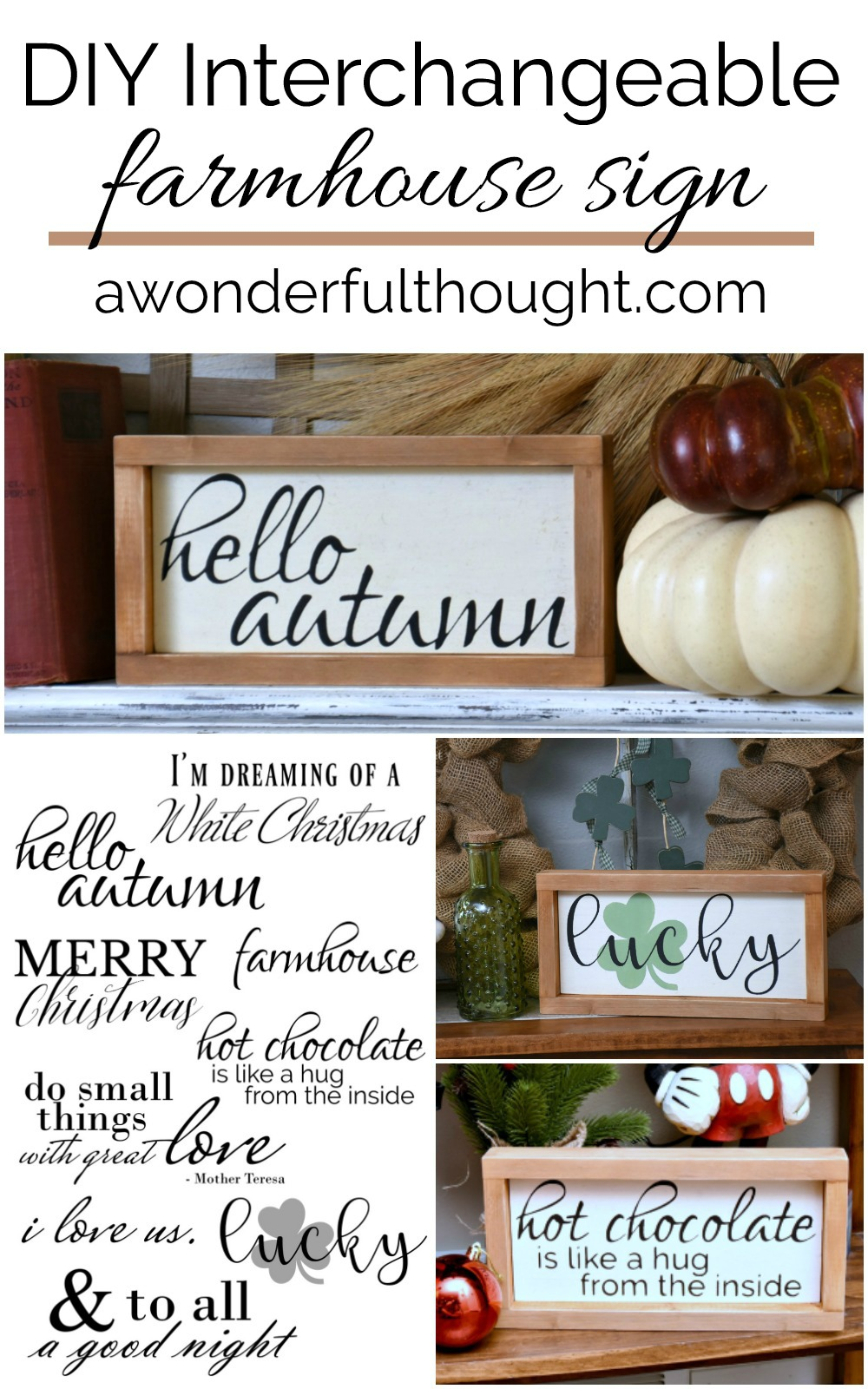 DIY Interchangeable Farmhouse Sign - A Wonderful Thought