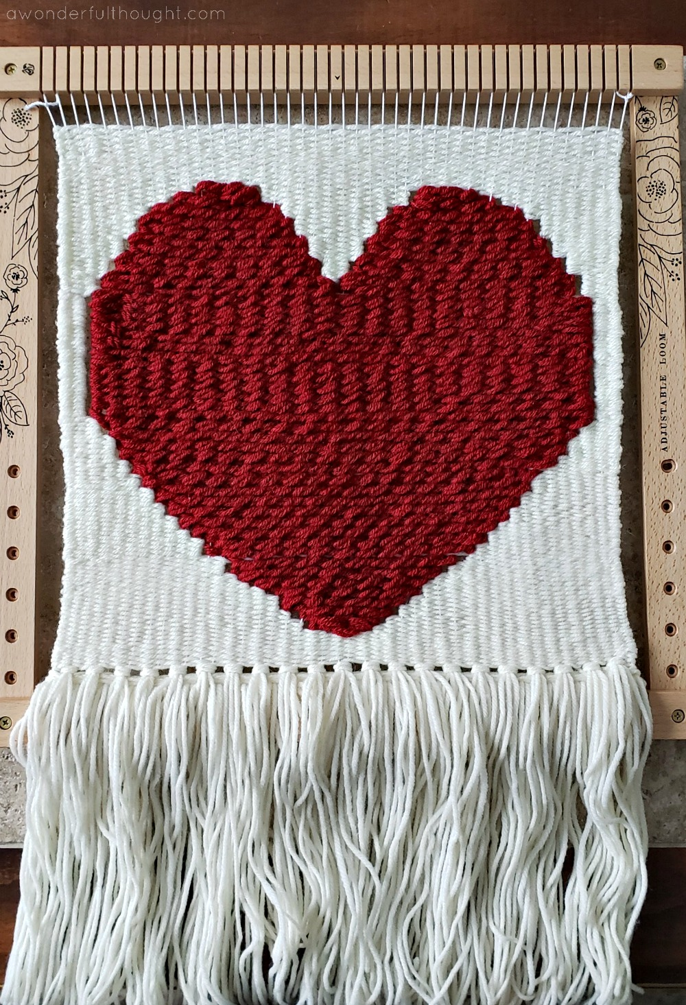 nursery home decor baby shower gift wool roving woven wall hanging heart fiber art valentine wall hanging weaving Heart wall hanging