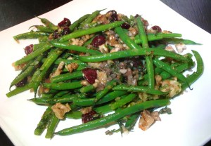 Green Beans with Sherry Vinaigrette,  Toasted Walnuts and Dried Cherries