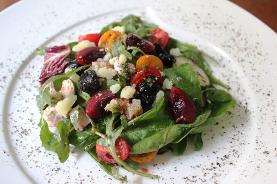 Arugula, Spinach, and Cherry Salad with Cherry and Tomato Vinaigrette