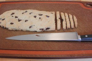 Cutting the baked biscotti (before you bake them again)