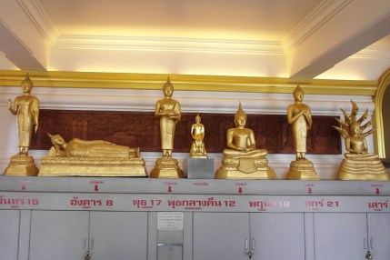 Sarunsiri was born on a Friday which, in Thai Buddhism, is represented by a standing Buddha statue with hands crossed over the chest (second statue from the right).
