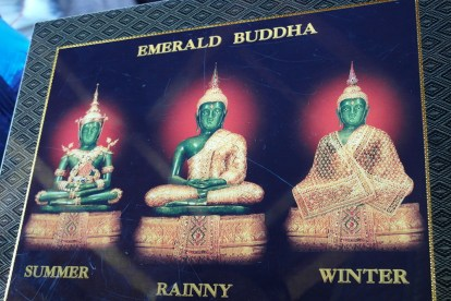 A variety of statues of Emerald Buddha, who Sarunsiri thinks helped him get his license, can be seen throughout the year in the Grand Palace.