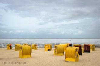 Roofed wicker beach chairs (Strandkörne) North Sea, Cuxhaven, Germany