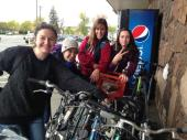 Grocery shopping on bikes