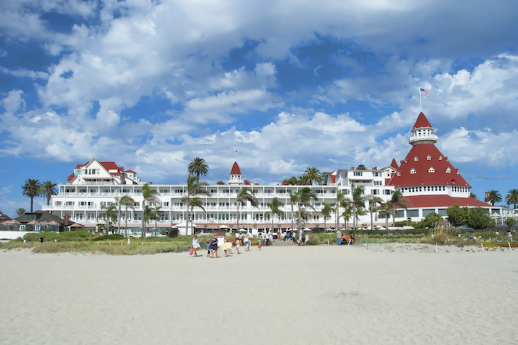 "SAN DIEGO, USA - OCTOBER 3, 2011: Victorian Hotel del Coronado on October 2, 2011 in San Diego, USA. In the hotel was filmed famous comedy ""Some like it hot"", which starred Marilyn Monroe."