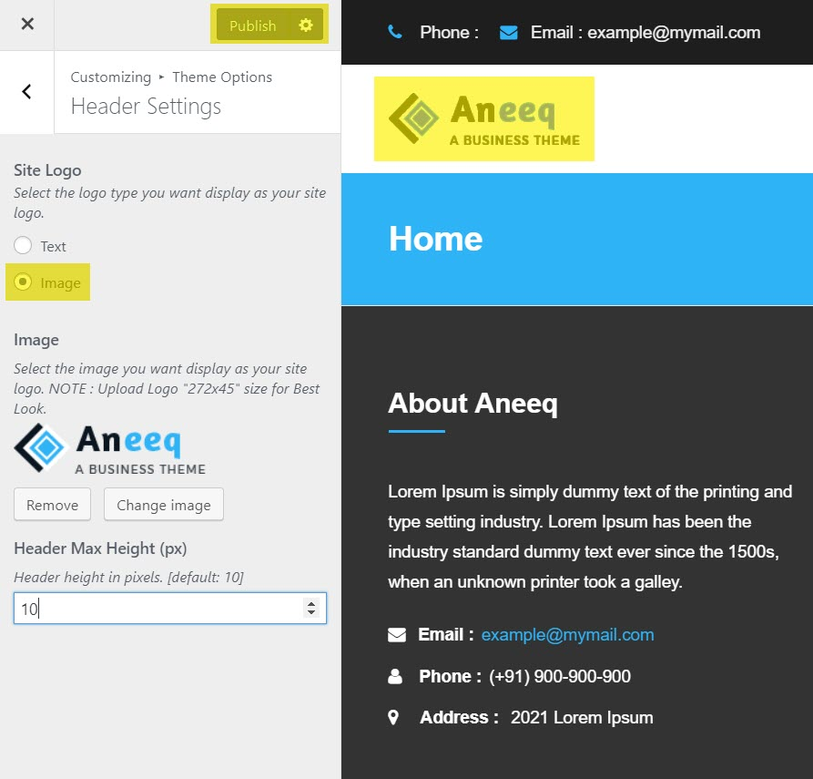 aneeq-wordpress-theme-homepage-header-settings-setup