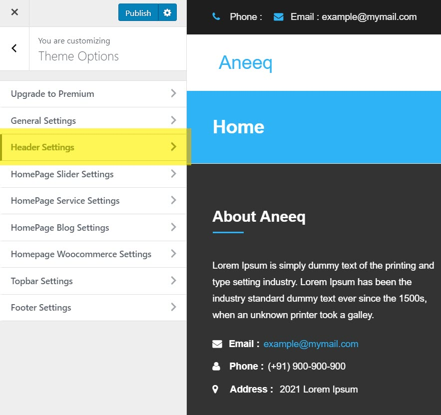 aneeq-wordpress-theme-homepage-header-settings
