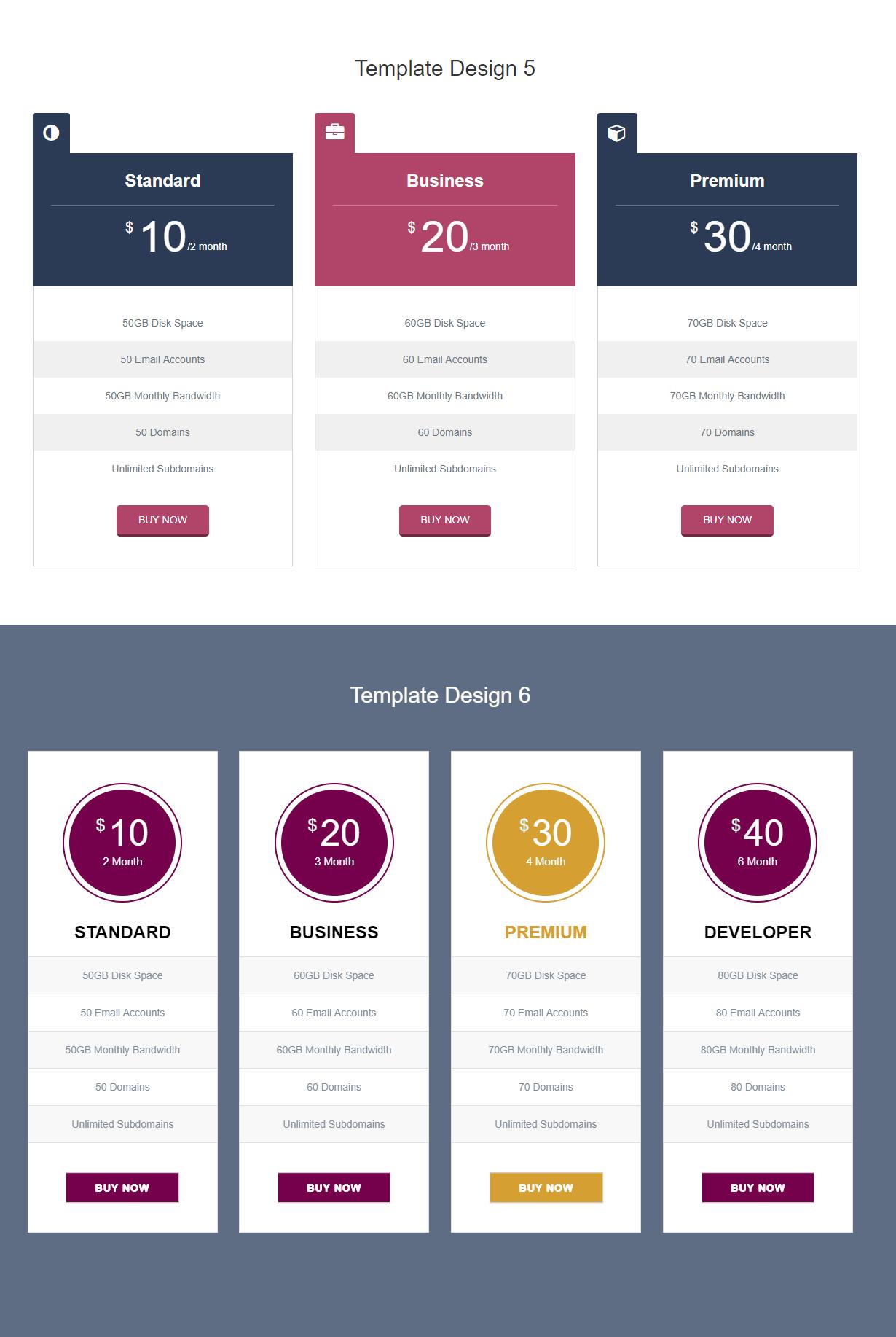 pricing table premium