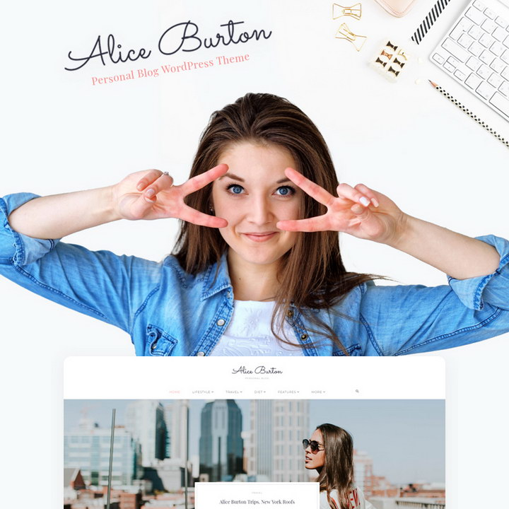 AliceBurton - Personal Blog Elementor WordPress Theme
