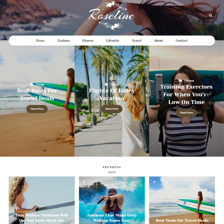 Roseline - Personal Blog WordPress Theme