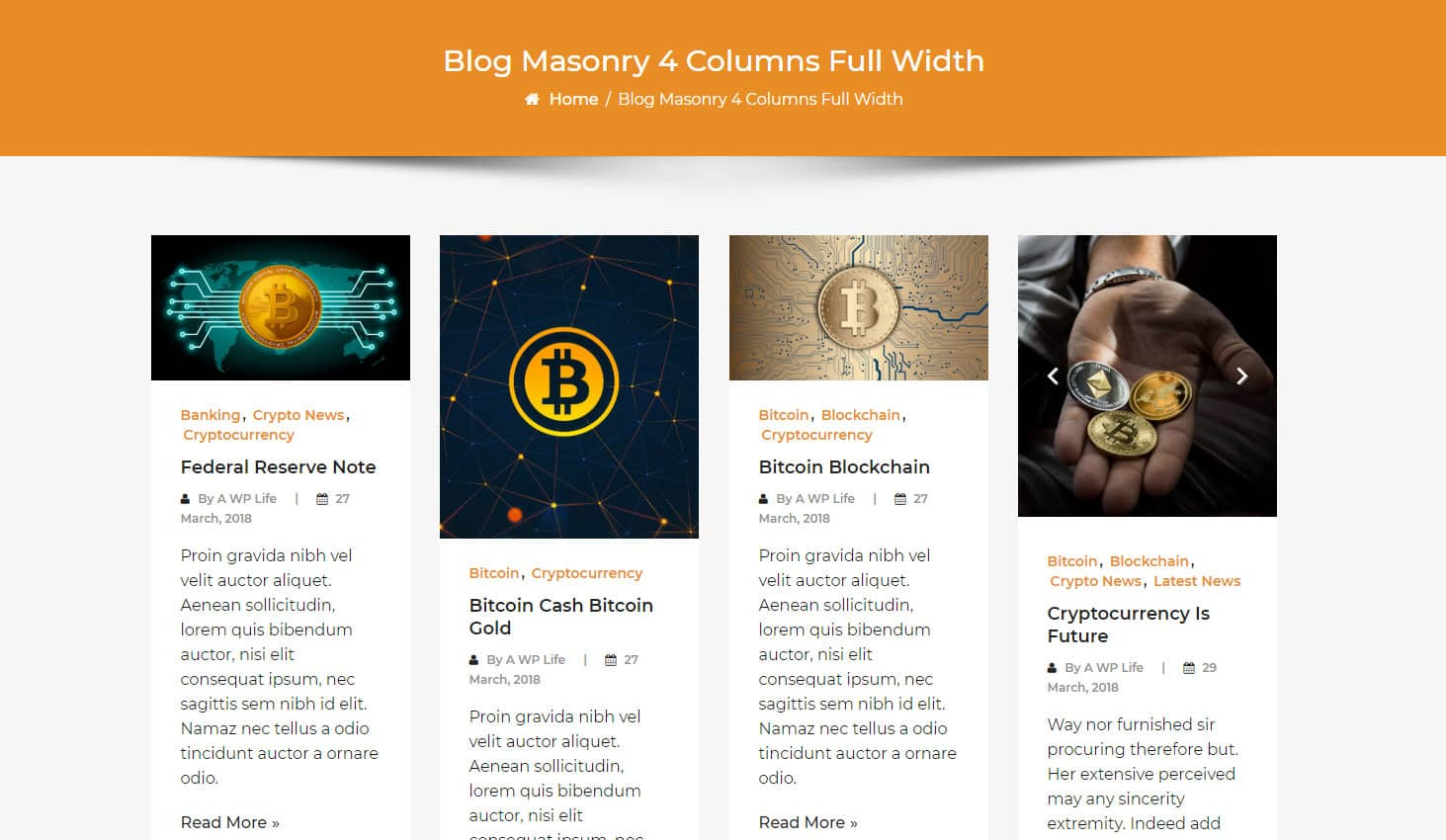Crypto Premium WordPress Theme For Cryptocurrency Business and Blog Websites - A WP Life - Blog Masonry Four Column Layout Template