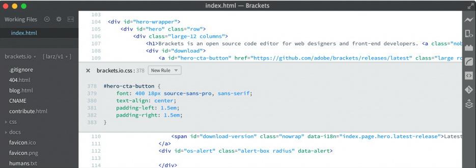 Bracket Code Editor Interface