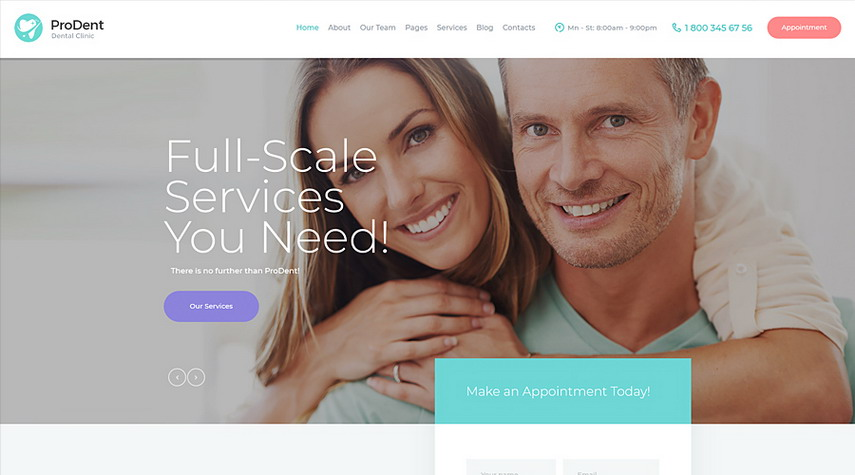 ProDent Dental Clinic & Healthcare WordPress Theme