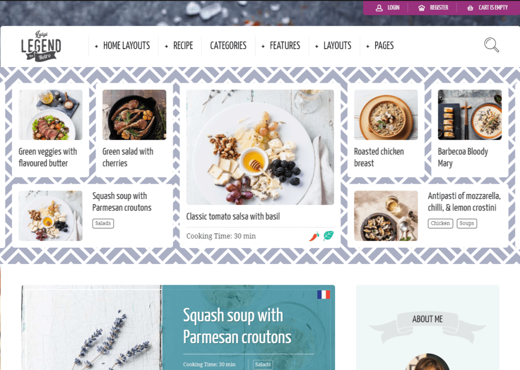 Neptune WordPress theme for food blog