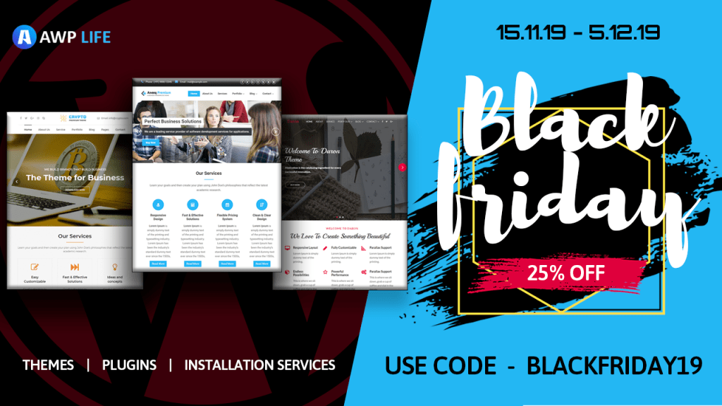 AWPLIFE Black Friday Deal for WordPress Themes and Plugins
