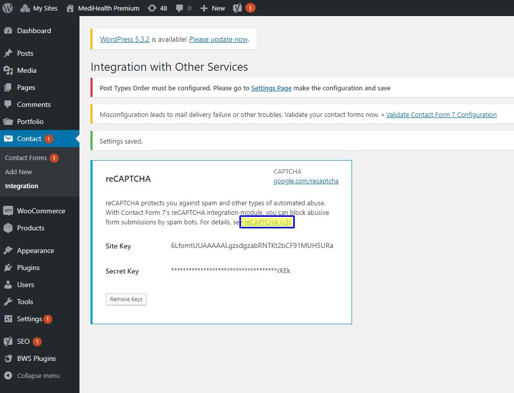 Contact Form 7 Google ReCaptcha Settings