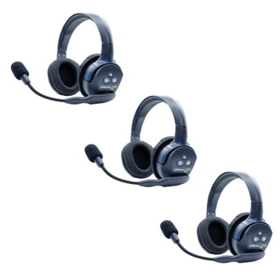 Eartec Ultralite HD 3 Person System W/ 3 Double Headsets, Batteries, Charger & Case Communications & IFB Eartec