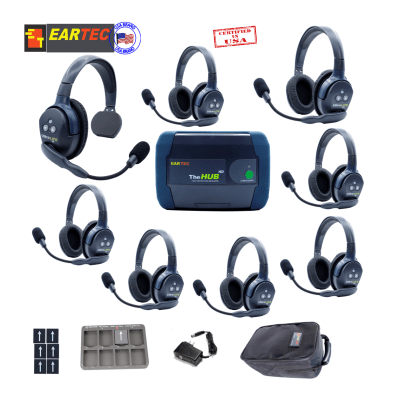 Eartec Hub817 Ultralite Hd & Hub 8Users W/1 Single & 7 Double Headset Communications & IFB Eartec
