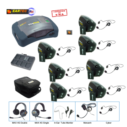 Eartec UPCYB7 Ultrapak & Hub 7 Pers W/ 7 Cyber Headset Communications & IFB Eartec