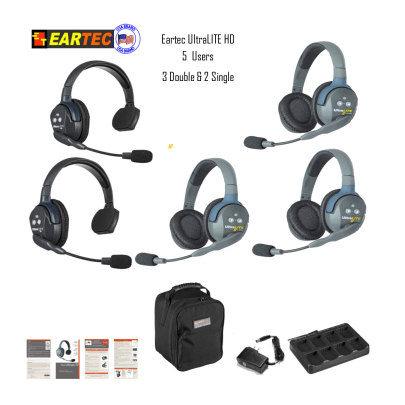 Eartec Ul523 Ultralite 5 Pers. System W/ 2 Single & 3 Double Headsets Communications & IFB Eartec