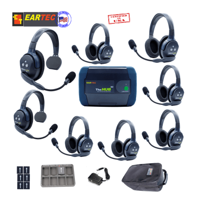 Eartec Hub826 Ultralite HD & Hub 8Users W/2 Single & 6 Double Headset Intercom Systems Eartec