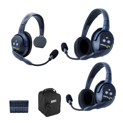 Eartec UL312 Ultralite HD 3 Person System W/ 1 Single 2 Double Headsets, Batteries, Charger & Case Communications & IFB [tag]