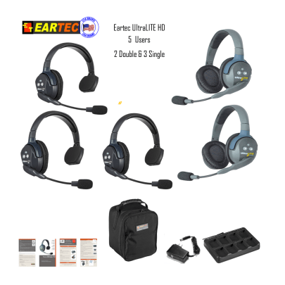 Eartec Ul532 Ultralite 5 Pers. System W/ 3 Single & 2 Double Headsets Intercom Systems Eartec