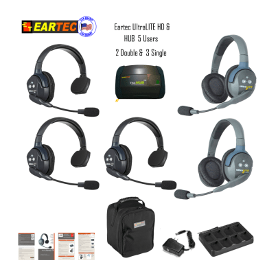 Eartec Hub532 Ultralite HD & Hub 5 Pers W/ 3 Single & 2 Double Headsets Intercom Systems Eartec